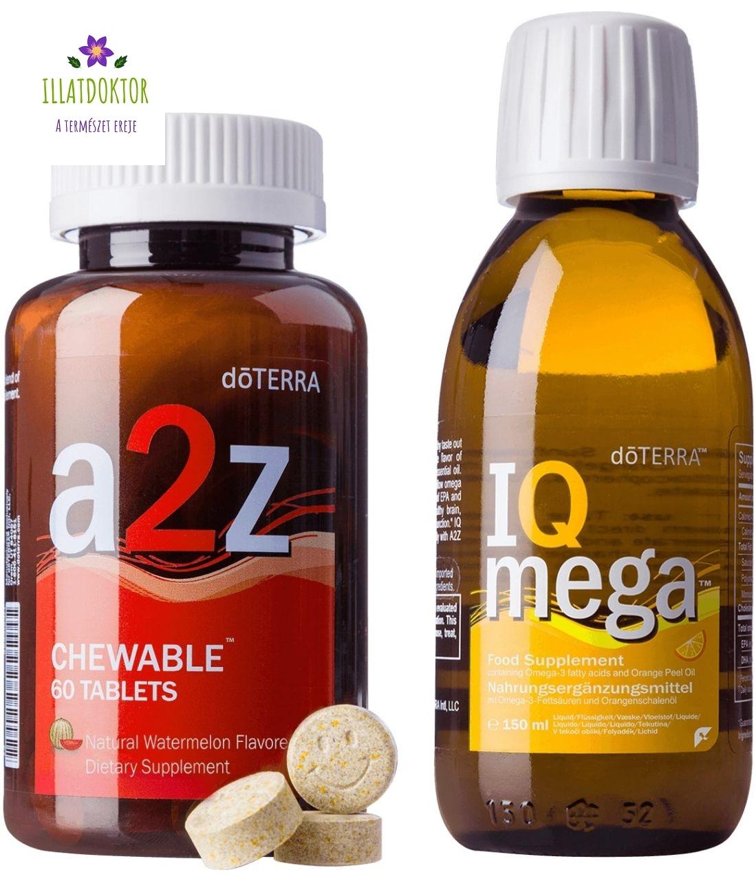 A2Z Chewable™ rágótabletta és IQ Mega™ folyékony omega-3 táplálékkiegészítő csomag